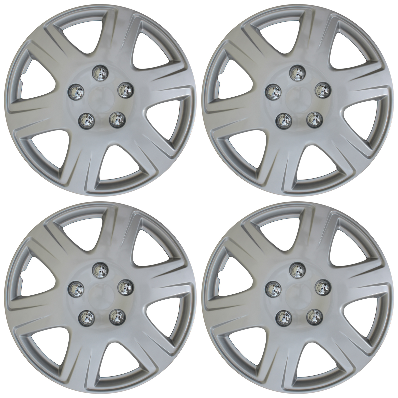 "4 pc NEW Universal HubCaps ABS Silver 15"" Inch Wheel Cover Hub Caps Covers Cap"