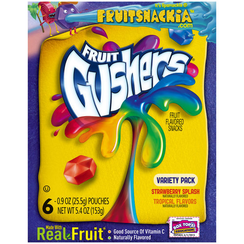Betty Crocker? Fruit Gushers? Strawberry Splash/Tropical Flavors Fruit Flavored Snacks 6-0.9 oz. Pouches
