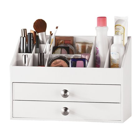 Astonishing 2 Drawer White Wooden Vanity Organizer For Makeup Or Desk Accessories One Size White Download Free Architecture Designs Licukmadebymaigaardcom