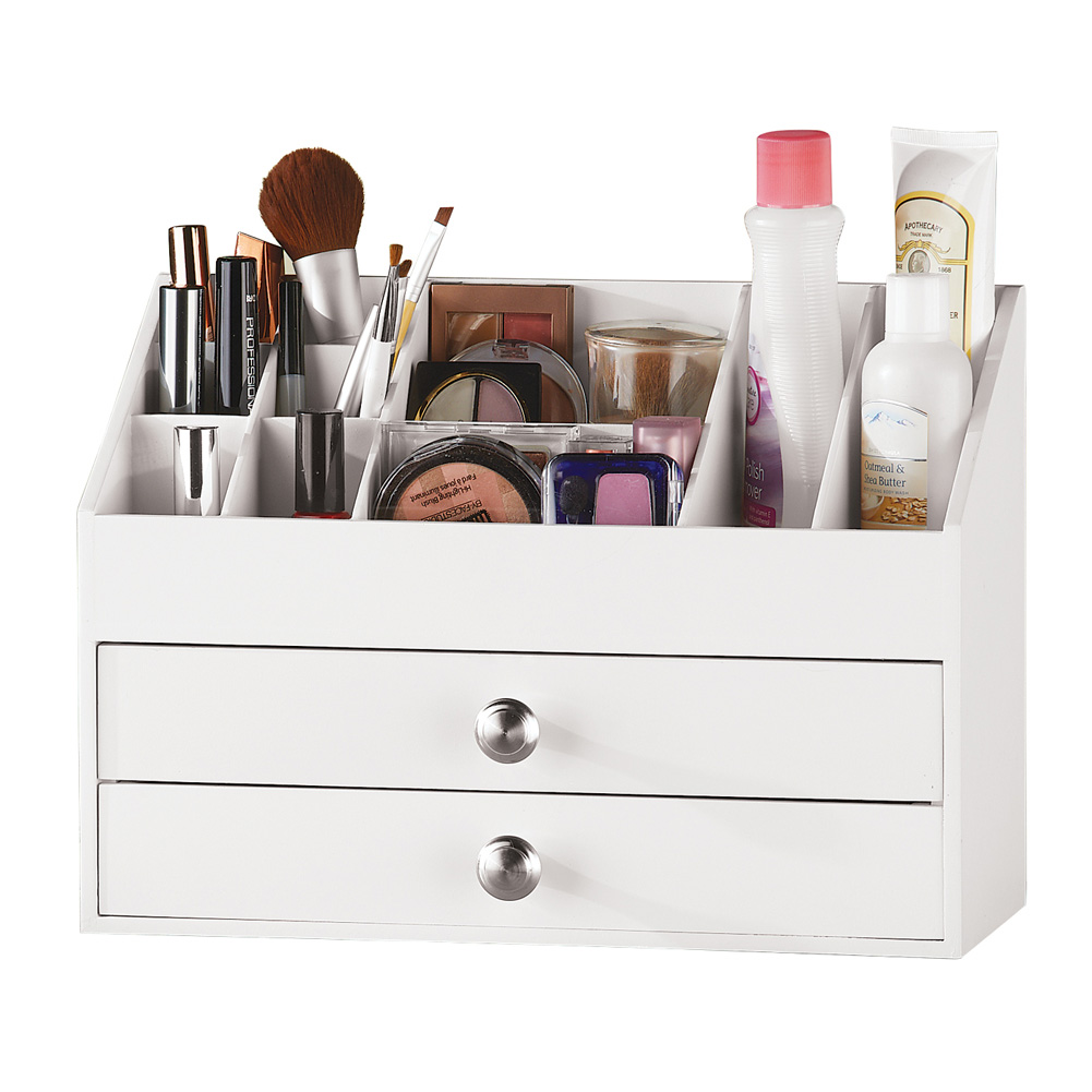 2 Drawer White Wooden Vanity Organizer for Makeup or Desk Accessories, One-Size, White