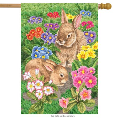 Bunny Friends Easter House Flag Spring Floral Bunnies Briarwood Lane 28