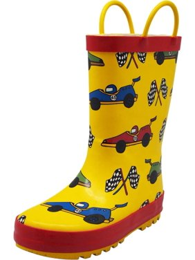 Norty Big Kids Boys Girls Waterproof Rubber Printed Rain Boots - 13 Patterns, 40145 Black Owls / 11MUSLittleKid