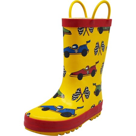 Norty Big Kids Boys Girls Waterproof Rubber Printed Rain Boots - 13 Patterns, 40145 Yellow Race Cars / 4MUSBigKid
