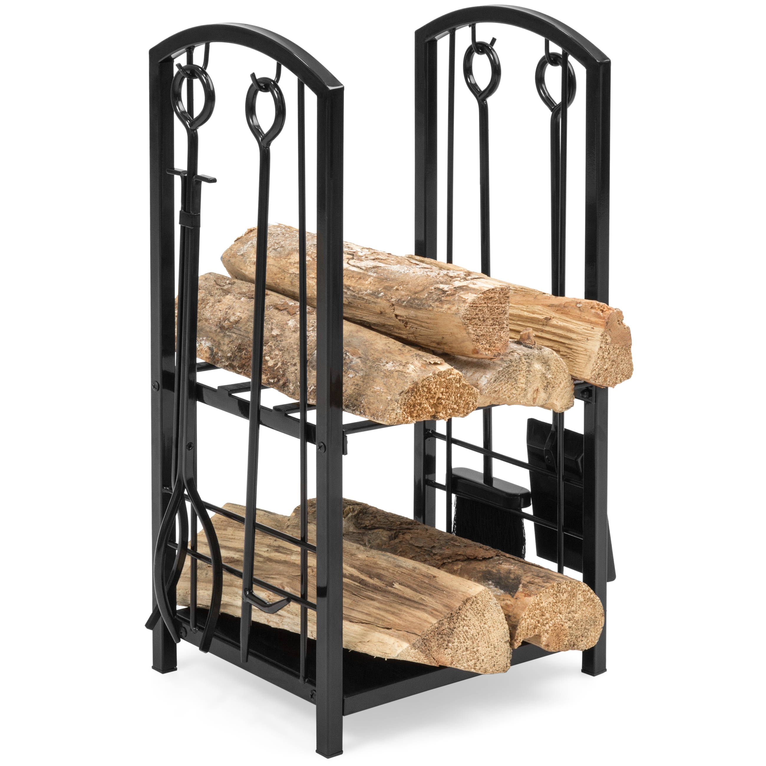 Best Choice Products Indoor Outdoor Fireplace Stackable Wrought Iron Firewood Log Rack Holder Storage Set w/ Hook, Broom, Shovel, Tong - Black