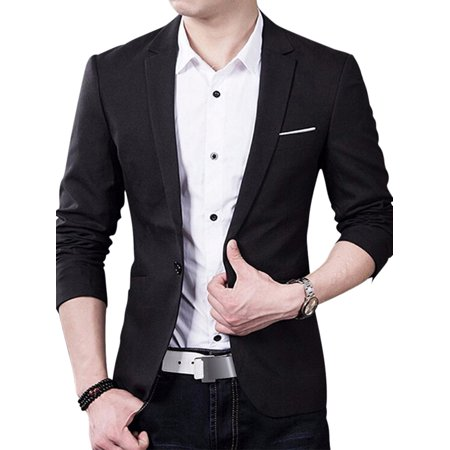 OUMY Mens Slim Fit One Button Formal Suit Blazer Wedding Business Coat (Button Cotton Men Suit)