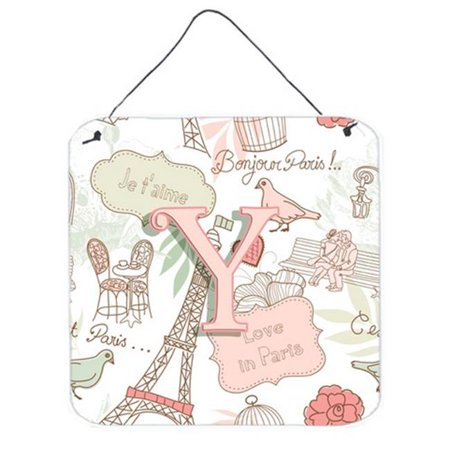 Letter Y Love In Paris Pink Wall and Door Hanging Prints