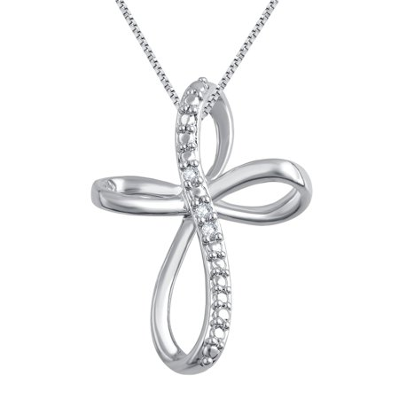 Gorgeous 0.24 Carat Diamond Accent Criss Cross Hoop Necklace In 14K White Gold (Silver Diamond Cut Criss Cross)