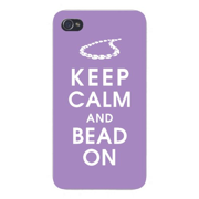 Apple Iphone Custom Case 4 4s White Plastic Snap on - Keep Calm and Bead On w/ Necklace