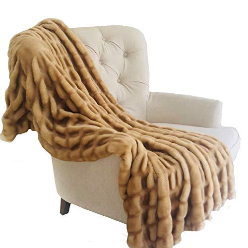 Plutus Brands  Beige Tissavel Mink Faux Fur Handmade Luxury Throw