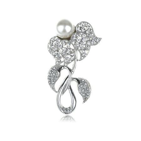 Bridal White Faux Pearl Bead Bud Flower Clear Ice Crystal Rhinestone Brooch Pin Bridal White Faux Pearl