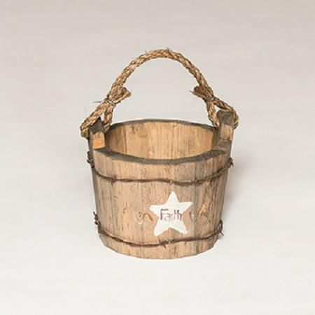 Furniture Barn USA™ Primitive Rustic Small Replica Wood Water Bucket Planter
