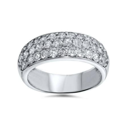 1 1/2ct Pave Diamond Wedding Anniversary 14K White Gold Womens Wide Band Pave Diamond Anniversary Band