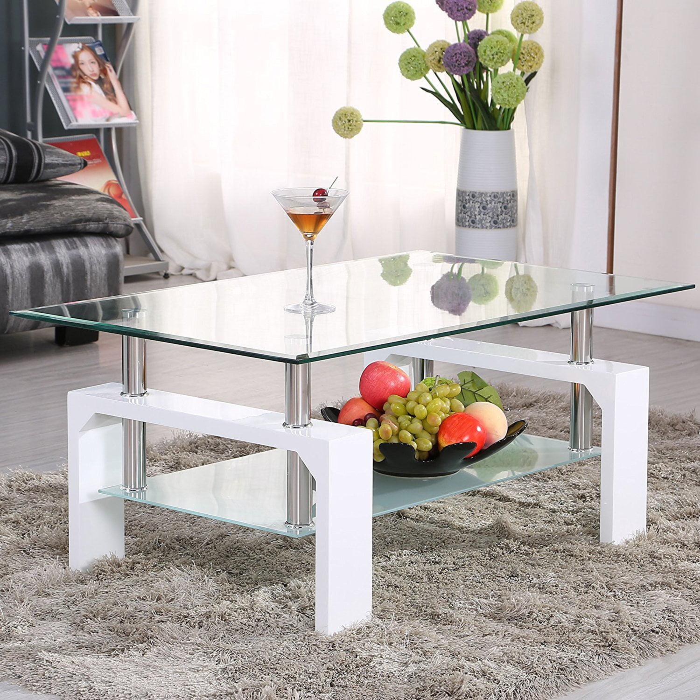 Uenjoy Rectangular Glass Coffee Table Shelf Chrome White Wood Living ...