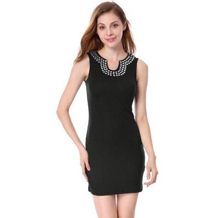 Beaded Jacquard Sheath Dress - Unique Bargains Women's Sleeveless Split Neck Beads Unlined Casual Sheath Dress