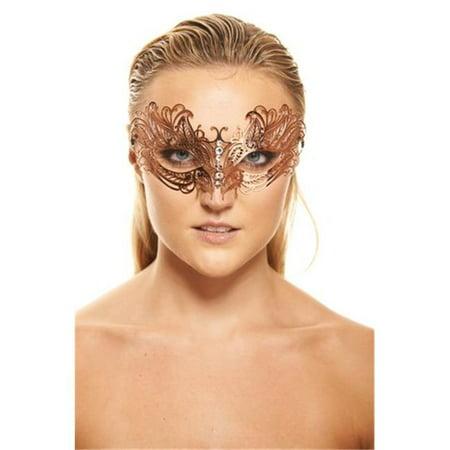 Kayso K2006RG Elegant Rose Gold Venetian Laser Cut Masquerade - Rose Masquerade Mask