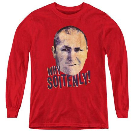 Three Stooges & Why Soitenly Youth Long Sleeve T-Shirt, Red - Medium - image 1 de 1
