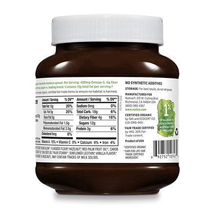 Certified Organic, non-GMO, Vegan Hazelnut Spread with Cocoa, Chia and Flaxseed, Dark Chocolate, 13-ounces Nutiva - 13