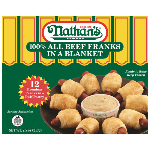 Nathan's 100% Beef Franks in a Blanket, 12 count, 7.5 oz