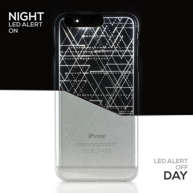 "SOJITEK Iphone 6 6S (4.7"") Silver Twinkling Light Clear Case w/ Triangle Pattern (Patent Pending Twinkling Light Technolgy using LED Flash Alerts)"