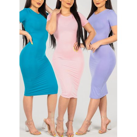 SUPER SALE! BEST VALUE! 3 PACK Womens Juniors Casual Must Have Basic Short Sleeve Round Neck Assorted Colors Bodycon Midi Dresses