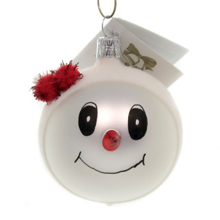 2.5 Inch Snowman Bell Ornament - Golden Bell Collection SNOWMAN WITH RED POM HAT Glass Glittered Ornament Sn707a