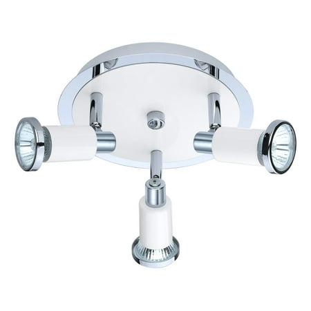 Spot Lighting 3 Light Fixture With Chrome & Shiny White Finish GU10 Bulb 4