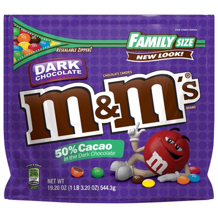 Dark Chocolate Glaze - M&M's Dark Chocolate Candy Family Size, 19.2 Ounce