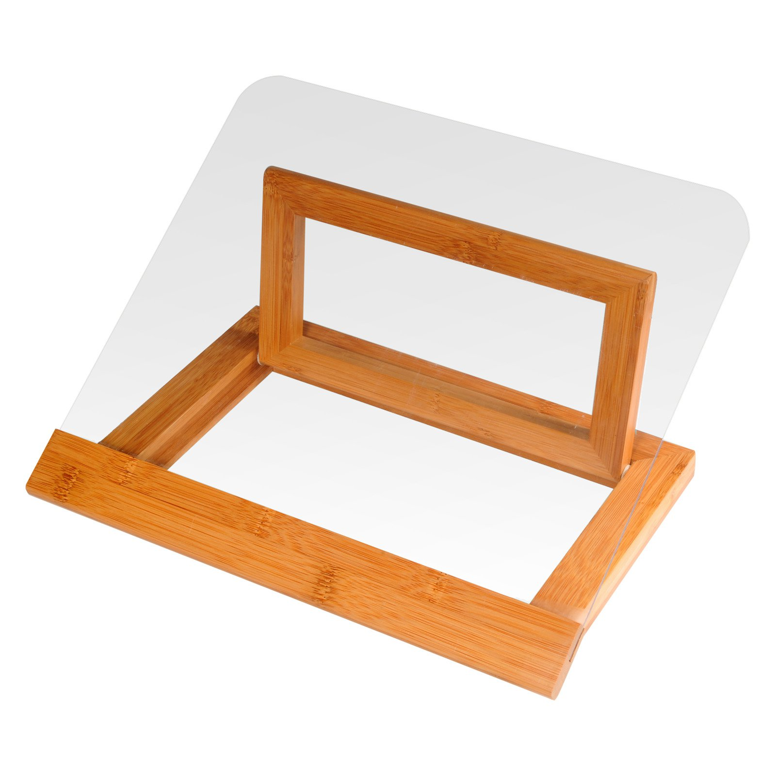 Creative Home Bamboo Cookbook Holder with Acrylic Shield