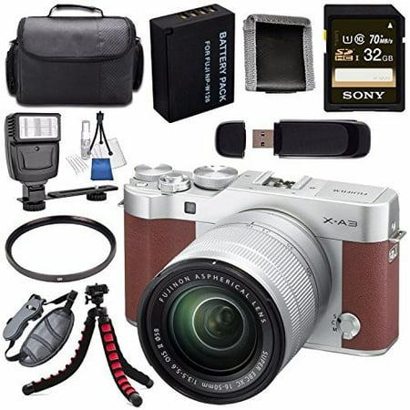 Fujifilm X-A3 Digital Camera w/ 16-50mm Lens (Brown) 16531647 + NP-W126 Lithium Ion Battery + Sony 32GB SDHC Card + Carrying Case + Tripod + Flash + Card Reader + Memory Card Wallet