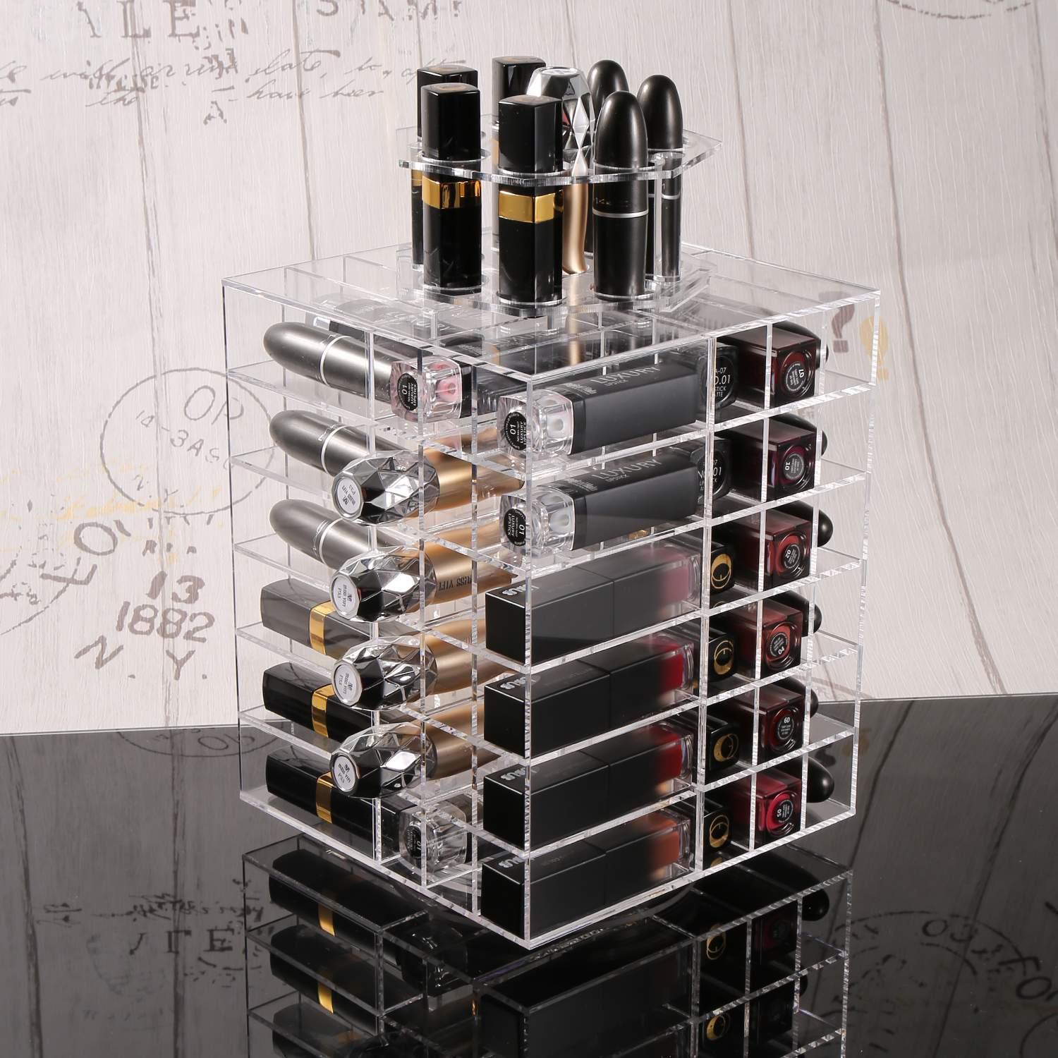 Acrylic Lipstick Storage Holder Tower Makeup Cosmetic Org...