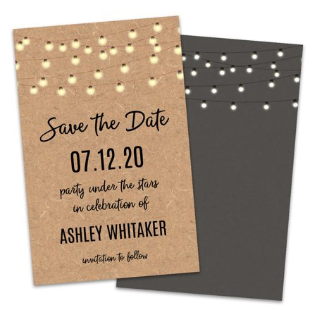 Personalized Warm Glow Light String Save The Dates - Save The Date Magnets Cheap