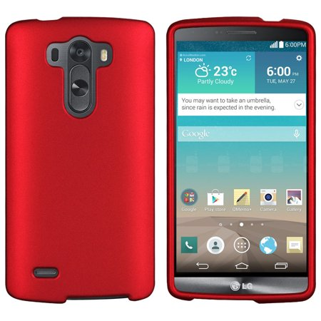 RED RUBBERIZED HARD CASE COVER FOR LG G3 PHONE SPRINT VERIZON T-MOBILE AT&T (Otter Box For Sprint Lg G3)