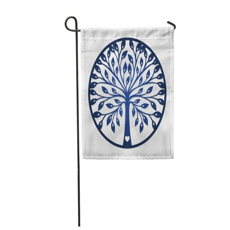 LADDKE Abstract Round Cut Out Tree Silhouette May Be Laser Cutting Lazercut Simple Garden Flag Decorative Flag House Banner 12x18 inch