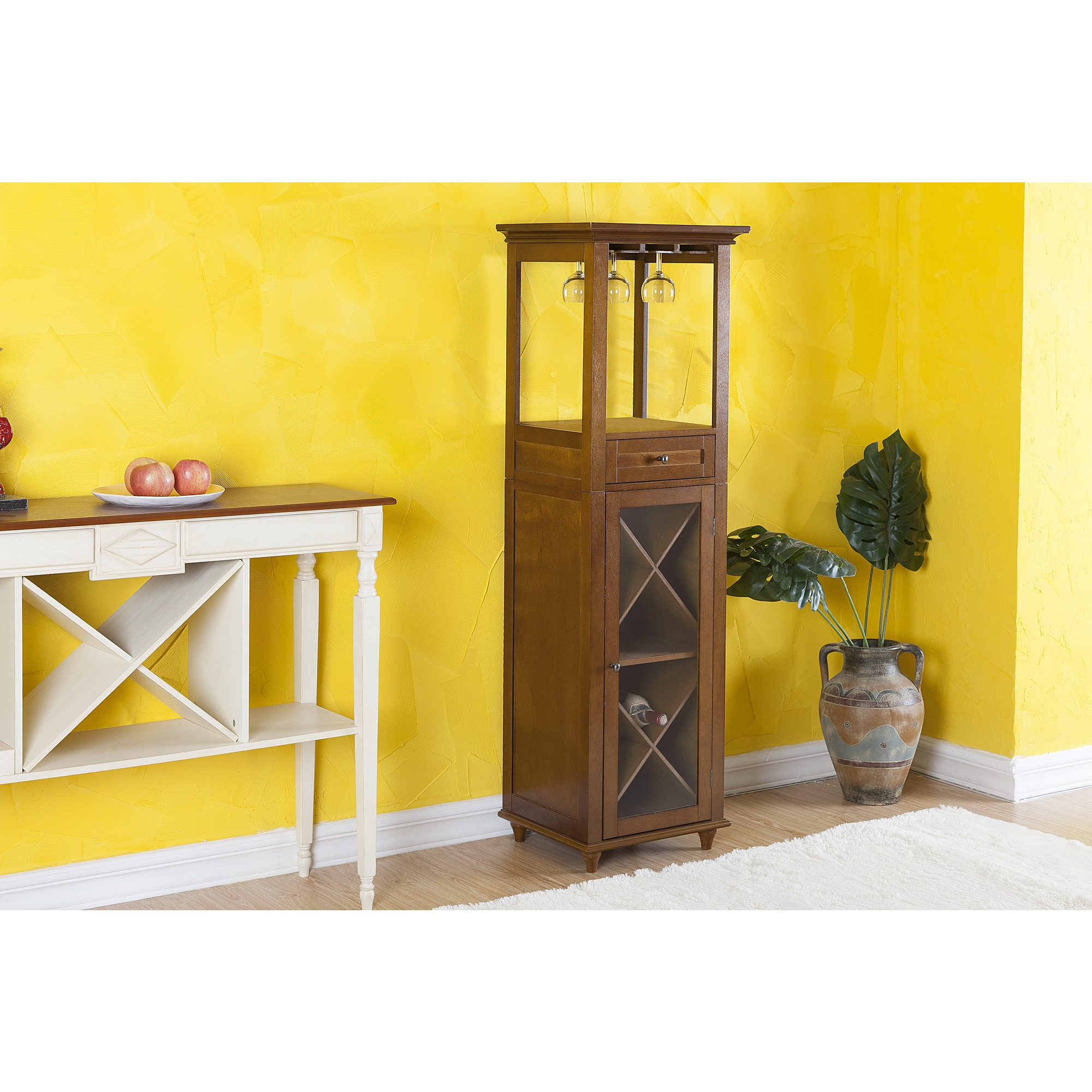Elegant Home Fashions Glenview Wine Bottle and Glass Storage Cabinet