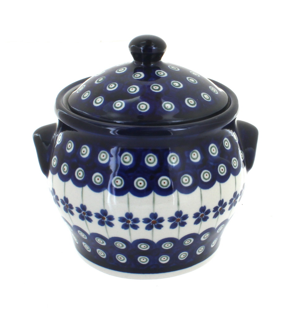 Blue Rose Polish Pottery Flowering Peacock Small Canister