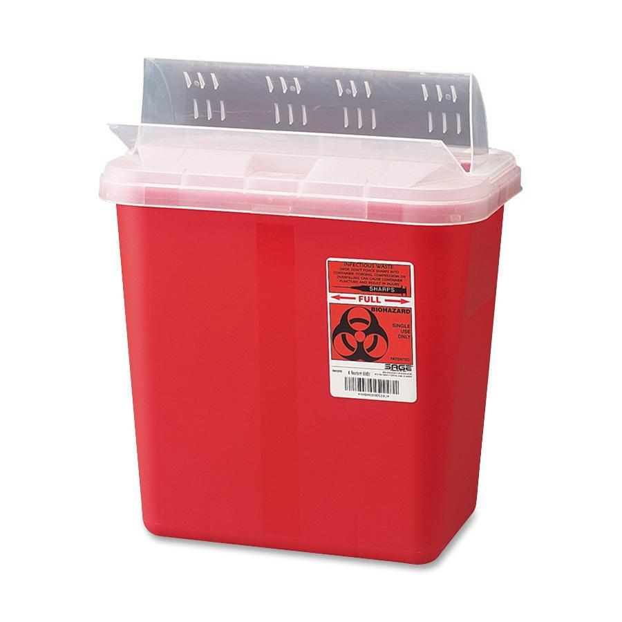 Covidien, CVDS2GH100651, Sharps 2 Gallon Container with Lid, 1, Red