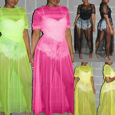 Multitrust Women's Mesh Long Maxi Dress Evening Cocktail Party Cover Up Beach Sundress Swim