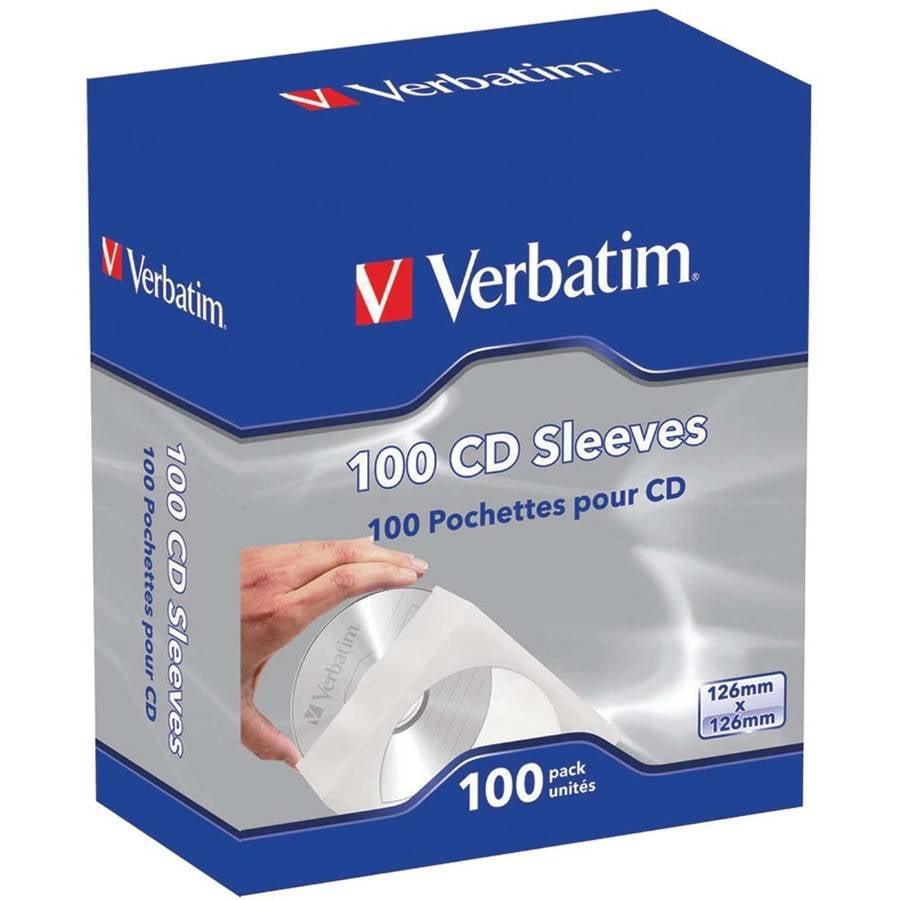 Verbatim 49976 CD/DVD Paper Sleeves with Clear Window, 100-Pack