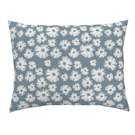 Floral Grunge Texture Blue Cottage Chic Daisy Custom Pillow Sham by Roostery ()