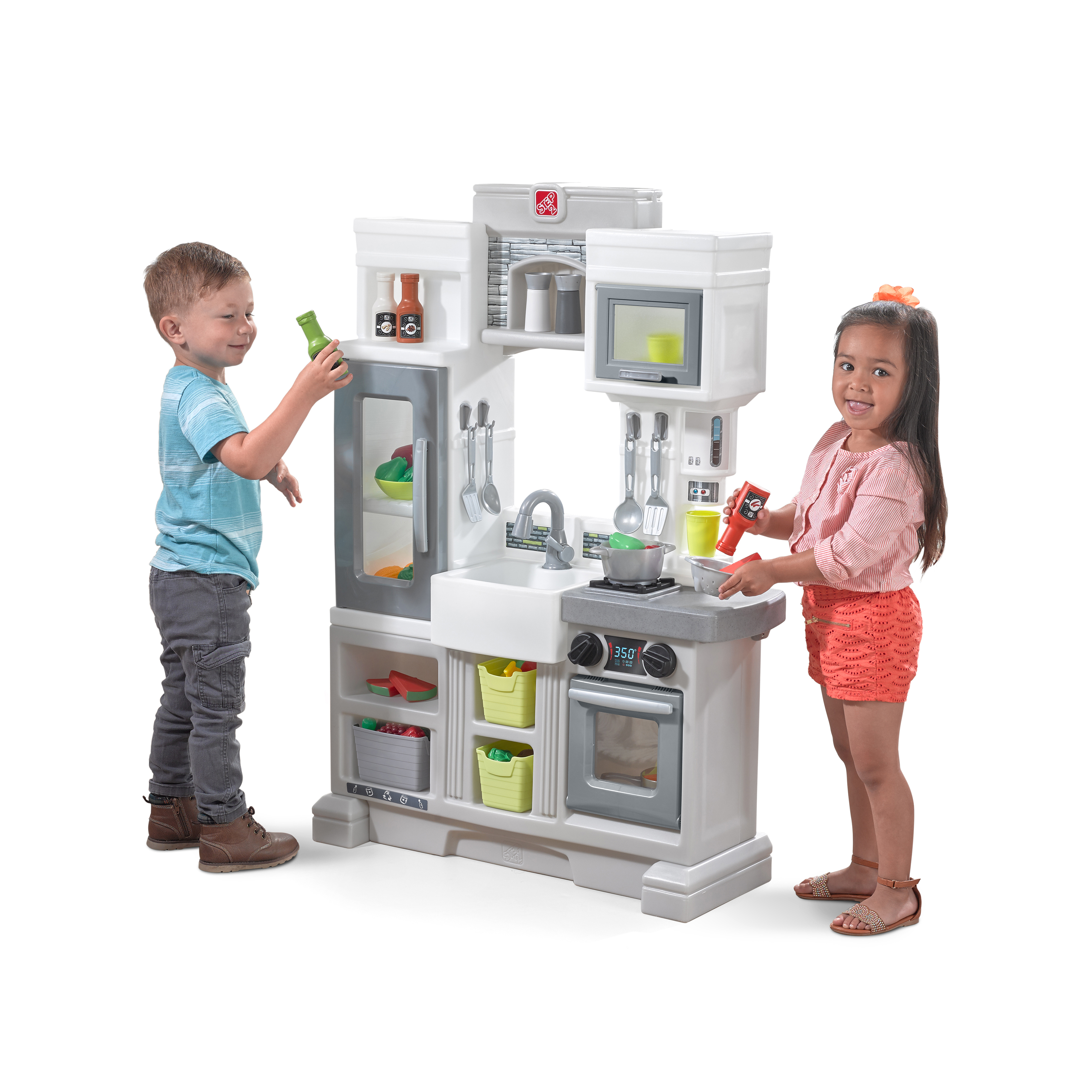 Step2 Downtown Delights Play Kitchen With 24 Piece Accessory Play Set Walmart Com Walmart Com