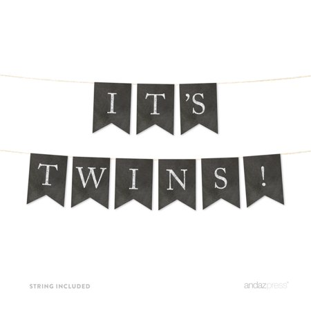It's Twins! Vintage Chalkboard Baby Shower Pennant Party Banner