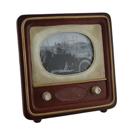 (Brown Vintage Finish Retro Television Tabletop Picture Frame)