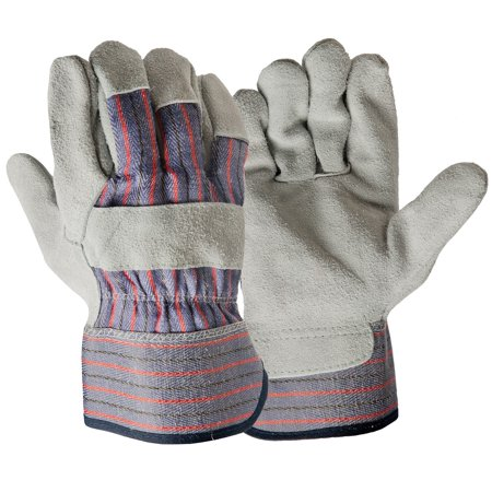 Hyper Tough Leather Palm Work Gloves, Size Large