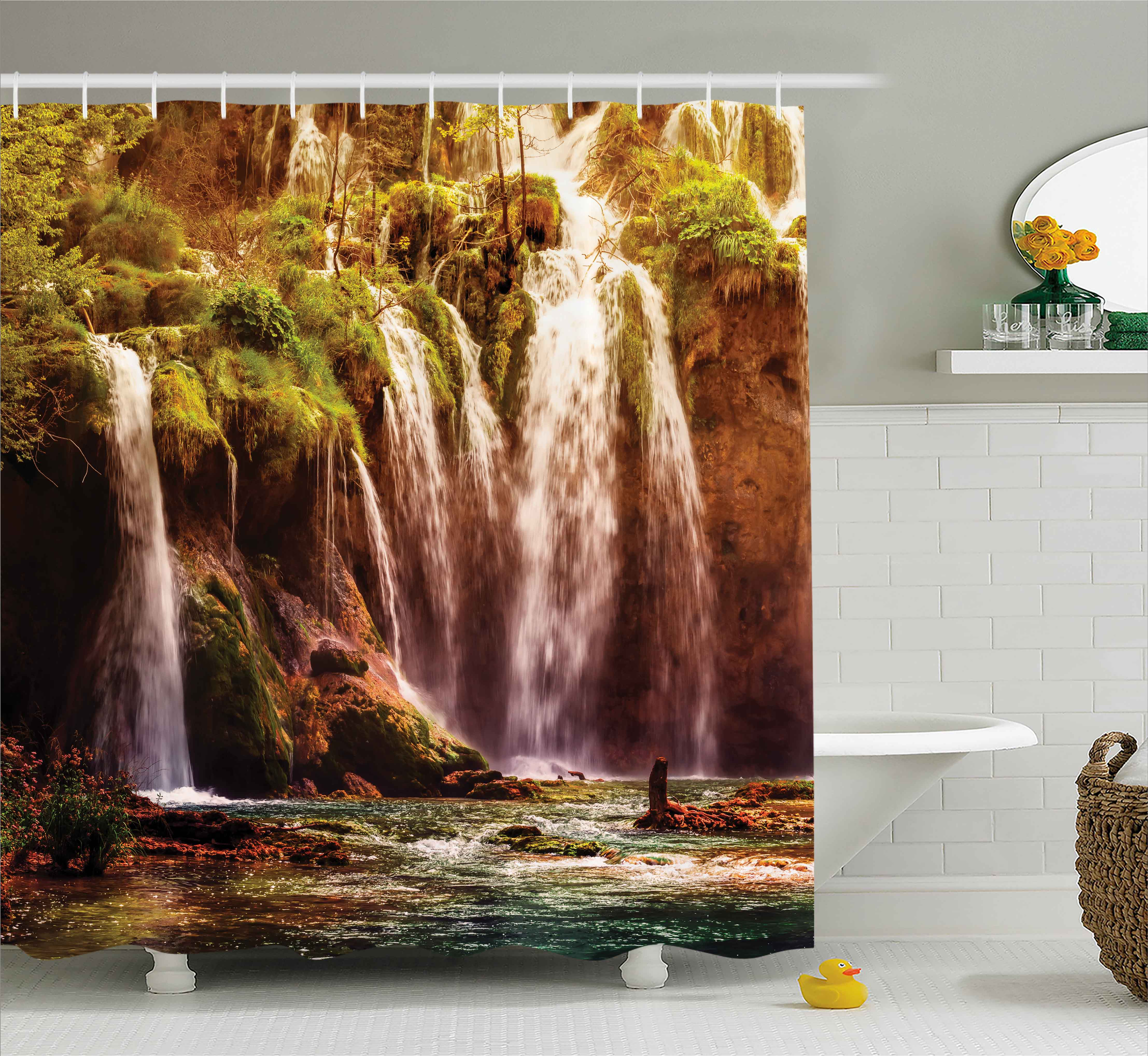 Nature Decor Shower Curtain Waterfall Forest Tree Moss