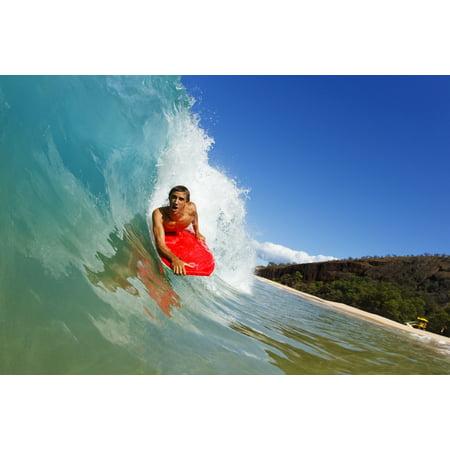 Hawaii Maui Makena - Big Beach Young Man Boogie Boarding On Beautiful Wave Stretched Canvas - MakenaStockMedia  Design Pics (34 x (Best Boogie Boarding Maui)