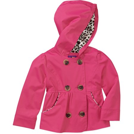 Pink Platinum Baby Girls&39 Pea Coat with Animal Printed Hood