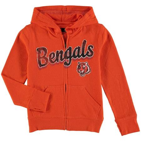 new style f778e 8d169 Cincinnati Bengals 5th & Ocean by New Era Girls Youth Brushed Knit  Tri-Blend Full-Zip Hoodie - Orange