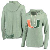 Miami Hurricanes Colosseum Women's Core Cora Long Sleeve Hoodie T-Shirt - Heathered Green