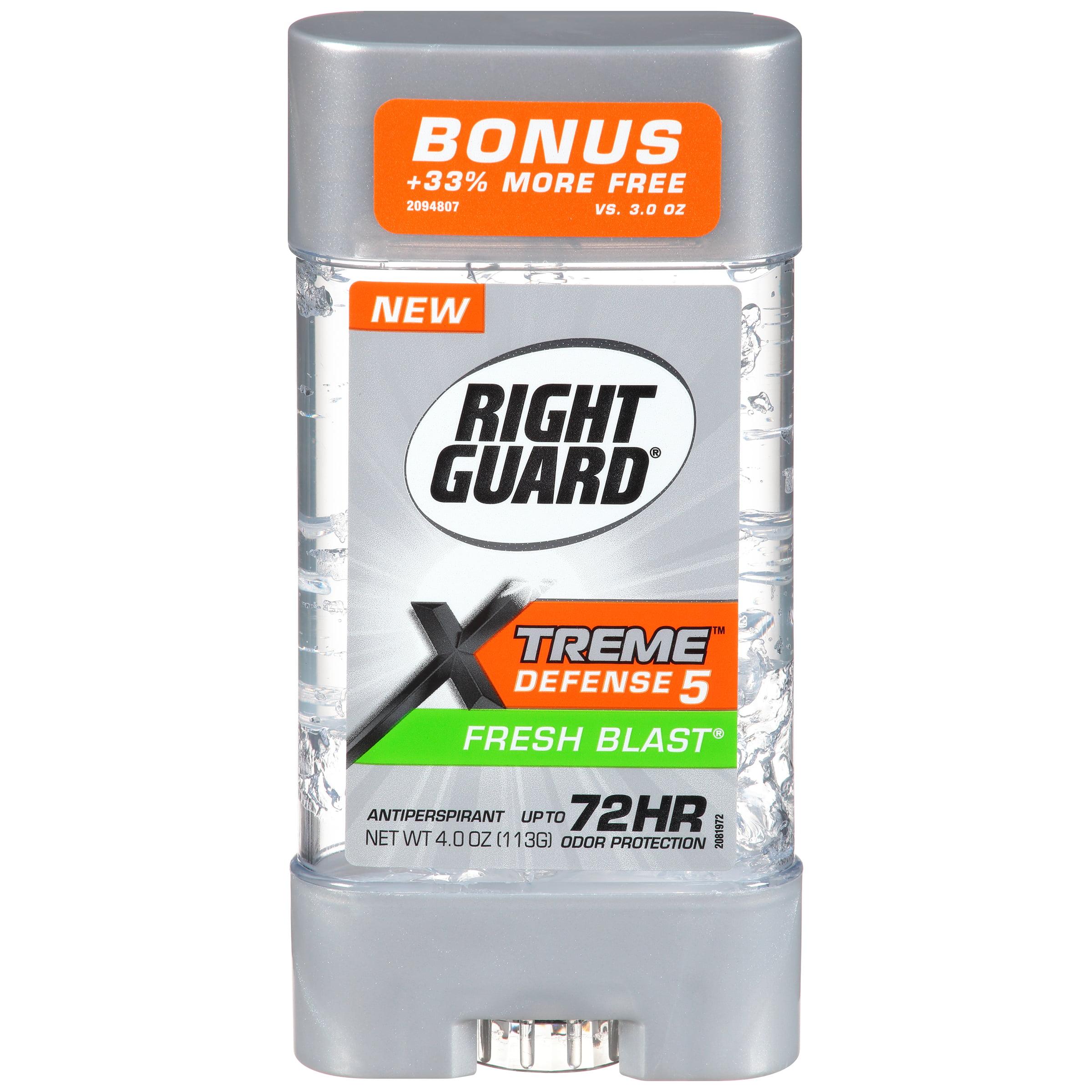 Right Guard Xtreme Defense 5 Antiperspirant Deodorant Gel, Fresh Blast, 4 Ounce