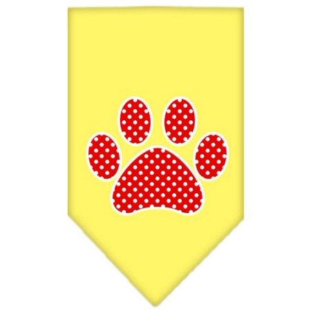Red Polka Dot Bandana (Red Swiss Dot Paw Screen Print Bandana Yellow)